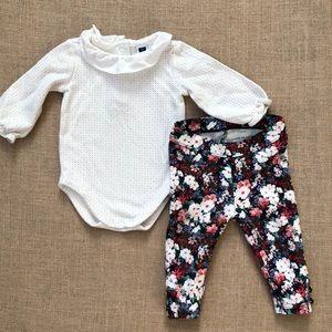 Janie and Jack floral leggings & ruffle onesie